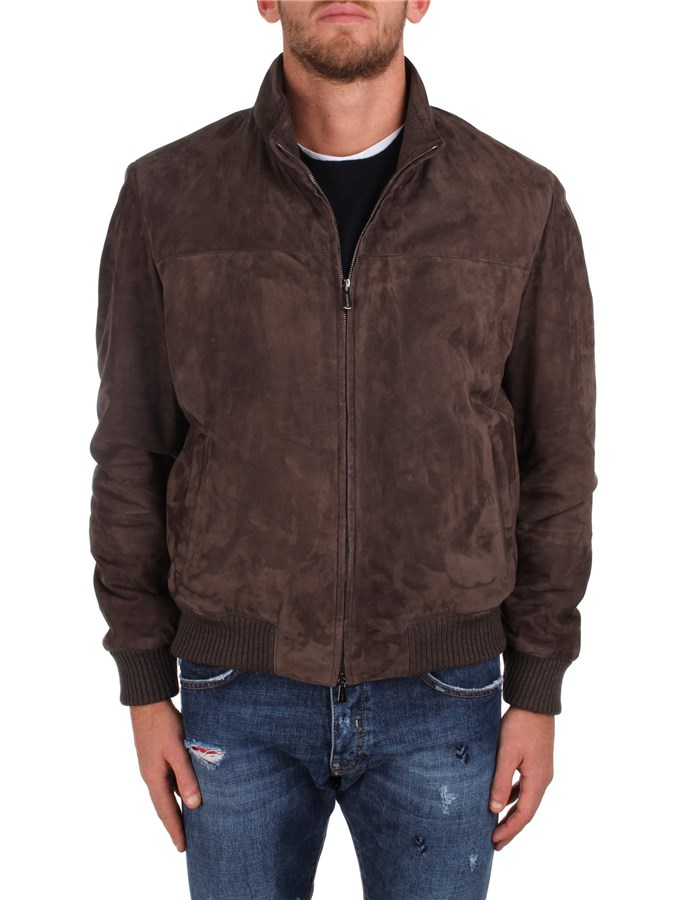 Enrico Mandelli Leather Jackets Brown