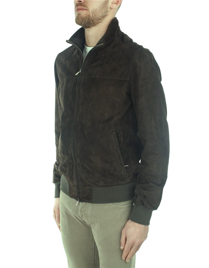 Enrico Mandelli Leather Jackets Green